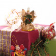 Christmas angels and gifts - Stock Photo