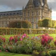 Tuileries gardens and detail of palace — Stock Photo
