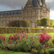 Tuileries gardens and detail of palace - Stock Photo