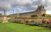 Tuileries gardens in Paris , Louvre museum — Stock Photo