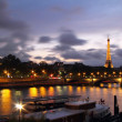 Seine river from Alexander III bridge - Stock Photo