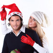 Playful Christmas couple — Stock Photo