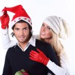 Stock Photo: Playful Christmas couple
