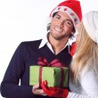 Smiling and happy Christmas couple — Stock Photo