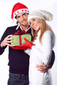 Beautiful Christmas couple — Stock Photo