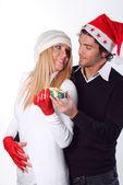 Mujer de Navidad con mirada amorosa — Foto de Stock