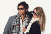Fashion models with sunglasses — Stock Photo