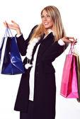 Gülümseyen shopper — Stok fotoğraf
