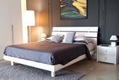 Modern grey colour bedroom — Stock Photo