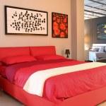 Red modern design bedroom — Stock Photo #16231277