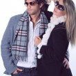 Couple of fashion models with sunglasses — Stock Photo #16314065