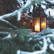 Lantern candle outdoor - Stock Photo