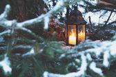 Lantern candle outdoor — Stock Photo