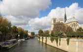 Notre Dame of Paris and Sine river with a cloudy blue sky — Stock Photo
