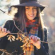 Smiling beautiful model with elegant hat  — Stock Photo