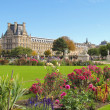 Green and floral Tuileries gardens in Paris — Stock Photo #19831837