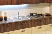 Beautiful brown kitchen detail — Stock Photo