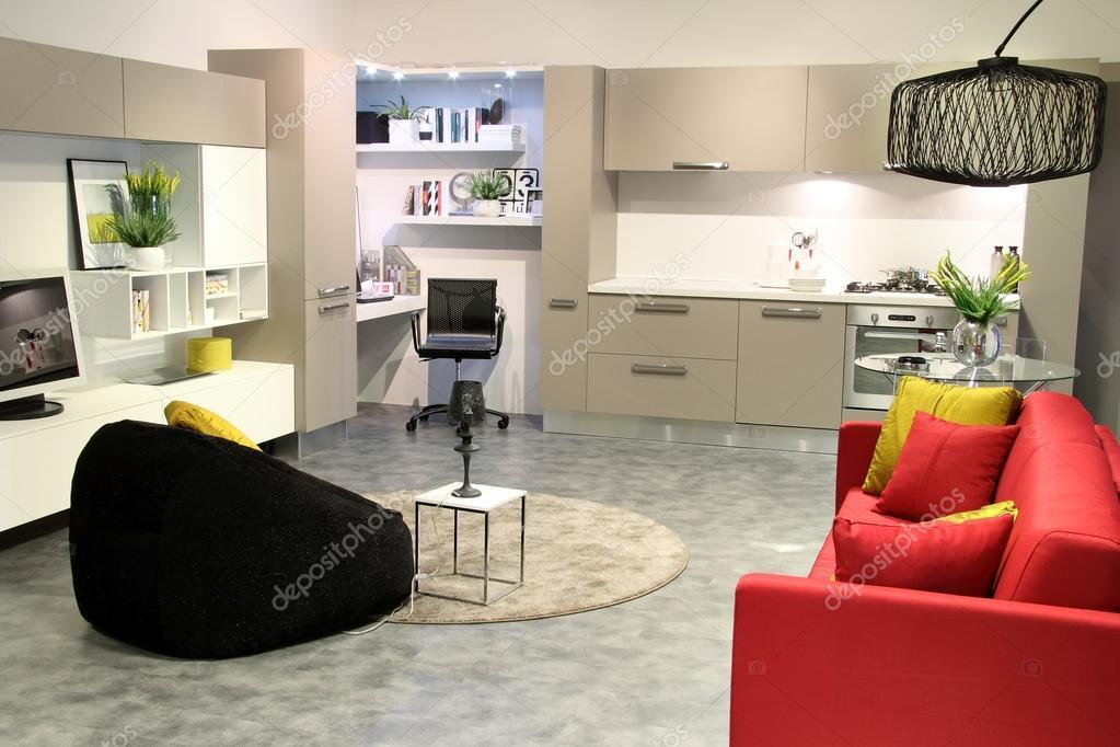 Kleurrijke moderne keuken en woonkamer — stockfoto © captblack76 ...