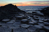 Giant's Causeway in Antrim county at sunset — Stock Photo