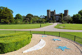 Malahide castle gardens and facade — Stock Photo