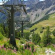 Chair lift seen from Mont Chetif in Courmayeur — Stock Photo