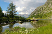 Alpine lake of Arpy in Aosta Valley — Stock Photo