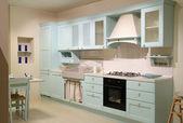 Country style cyan kitchen — Stock Photo