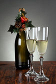 Christmas glasses of champagne — Stock Photo