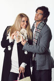 Funny couple ready for shopping — Stock Photo