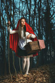 Little Red riding hood in the forest at night — Foto Stock