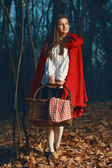 Smiling Little Red riding hood in the forest at night — Stock Photo