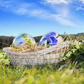 Easter eggs painted and blue sky — Stok fotoğraf