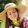 Happy gardener smiling — Foto Stock