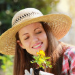 Happy gardener smiling — Foto de Stock