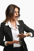 Elegant business woman is already late — Stock Photo