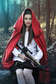 Dark fantasy Little red riding hood — Stock Photo