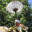 Temple Offerings and Umbrella, Bali — Stock Photo