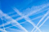 Aircraft busy blue sky — Stock Photo