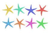 Acht kleurrijke zeester op een witte achtergrond — Stockfoto