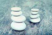 Two stacks of white stones — Stock Photo