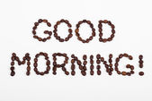 Good morning, text in coffee beans — Stock Photo