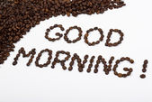 Good morning written with coffee beans — Stock Photo