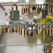 Stock Photo: Love Locks on Fence