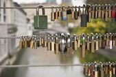 Love Locks on the Fence — Stock Photo