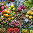 Varioud fruits and vegetables at market - Stock Photo