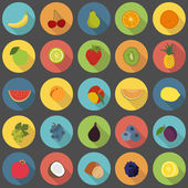 Fruit flat icons vector set — Stock Vector