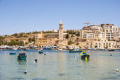 Marsaskala bay with boats, Malta — Stock Photo