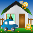 Stock Vector: Car and house