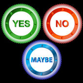 Yes No and Maybe - Three Signs — Stock Vector