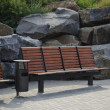 Benches and stones in park — Stock Photo